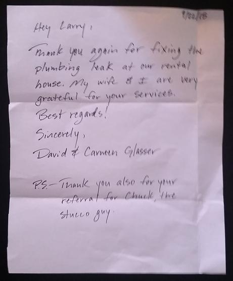 Letter from satisfied customer